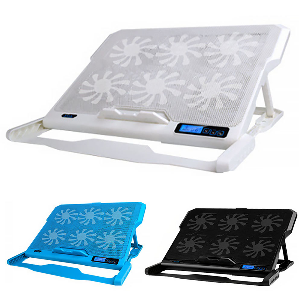 """2 USB Port 6 Cooling Fan Cooler Stand Pad Fits 7/""""-17/"""" Inch Laptop and Notebook"""