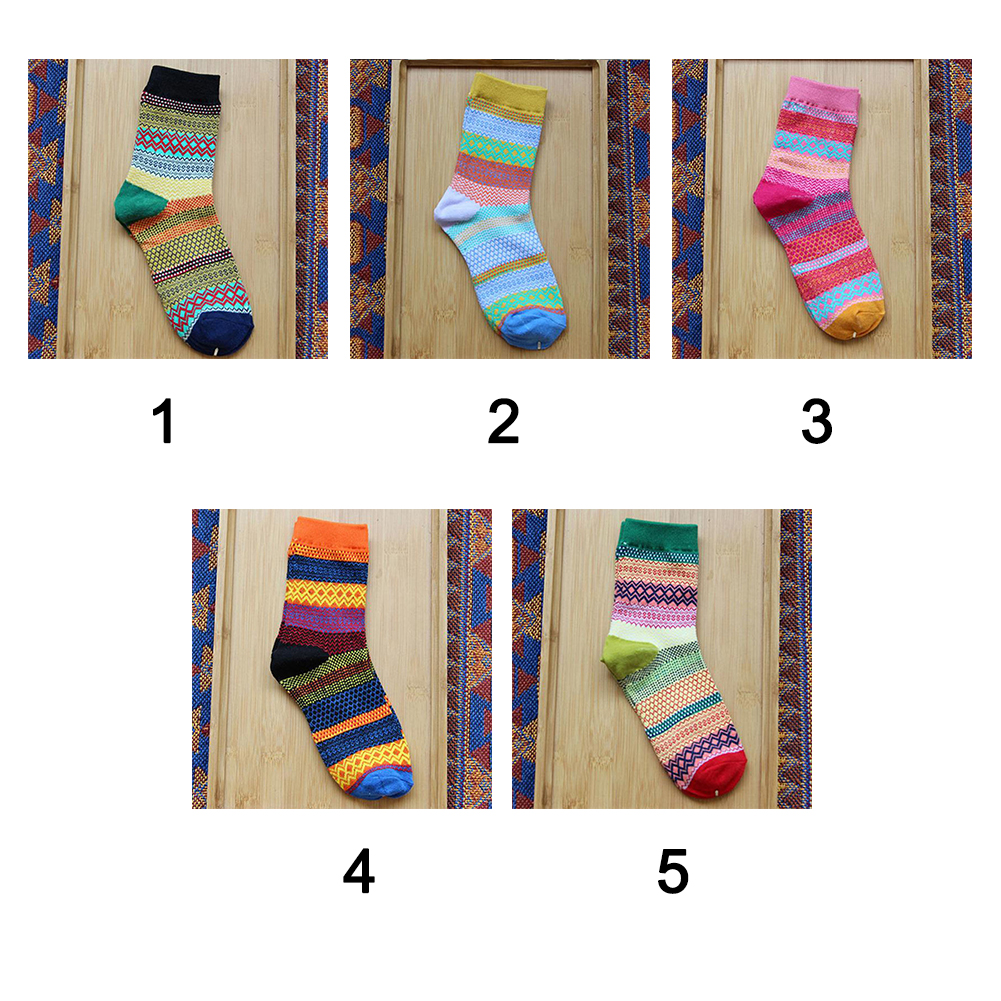 New Spring autumn lovely Women Socks rainbow Striped Cotton Socks for Female