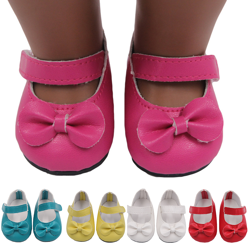 Mini Bow Beautiful Doll Shoes For 18 Inch Girl Doll Cute Magic Sticker Toy New