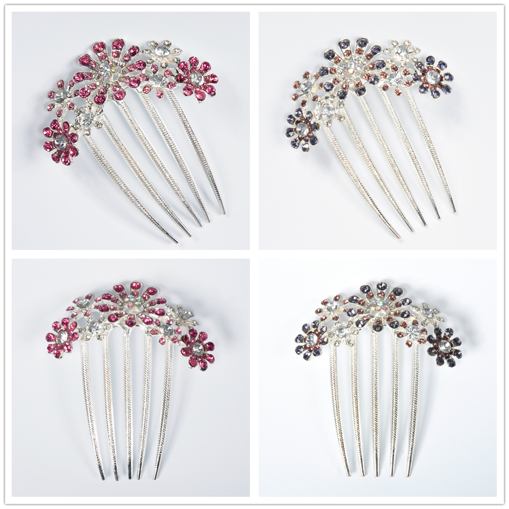 UK Bride Wedding Hair Comb Crystal Flower Floral Bridal Hairpins Womens Jewelry