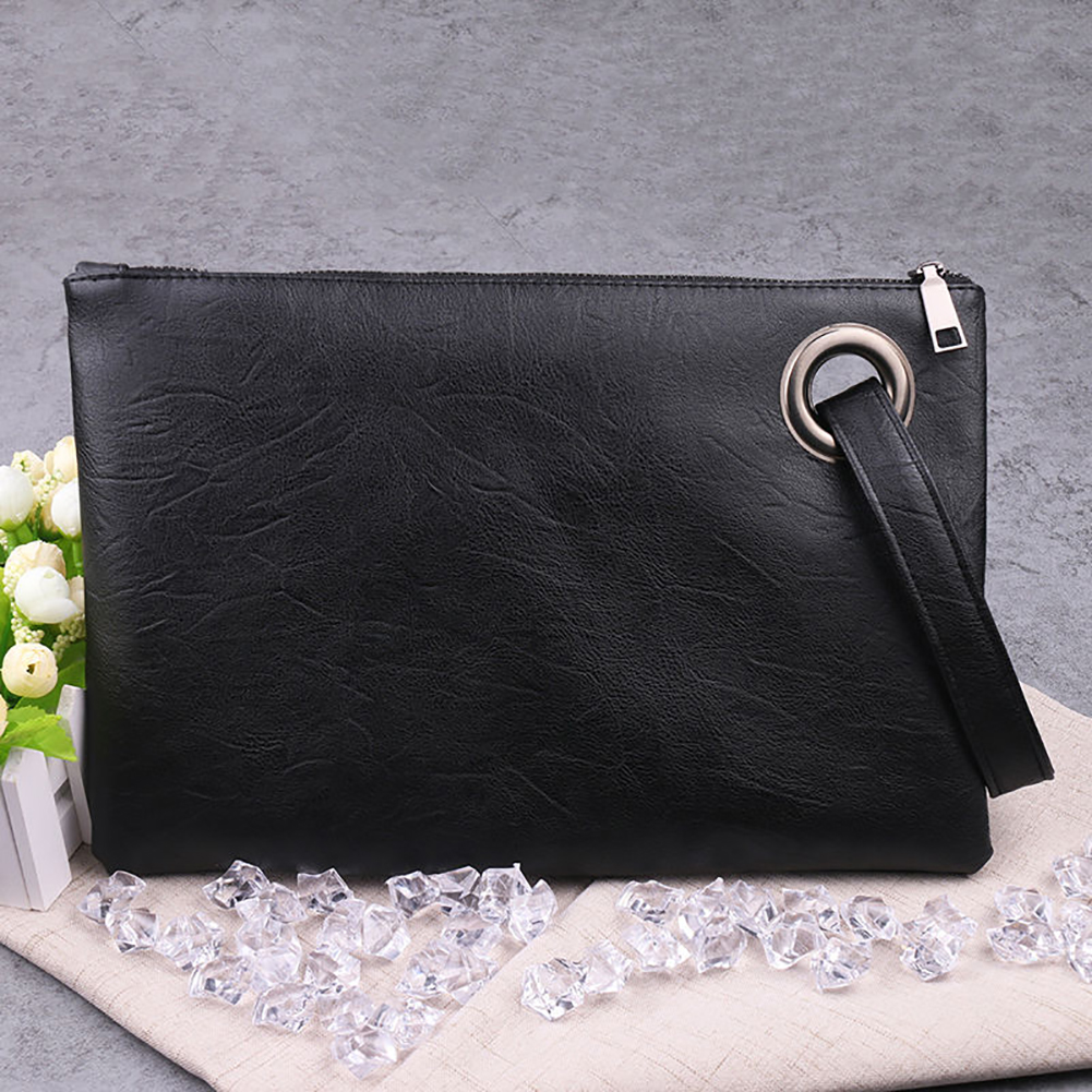 Women Zipper PU Leather Handbag Clutch Envelope Shoulder Evening Bag Purse Large