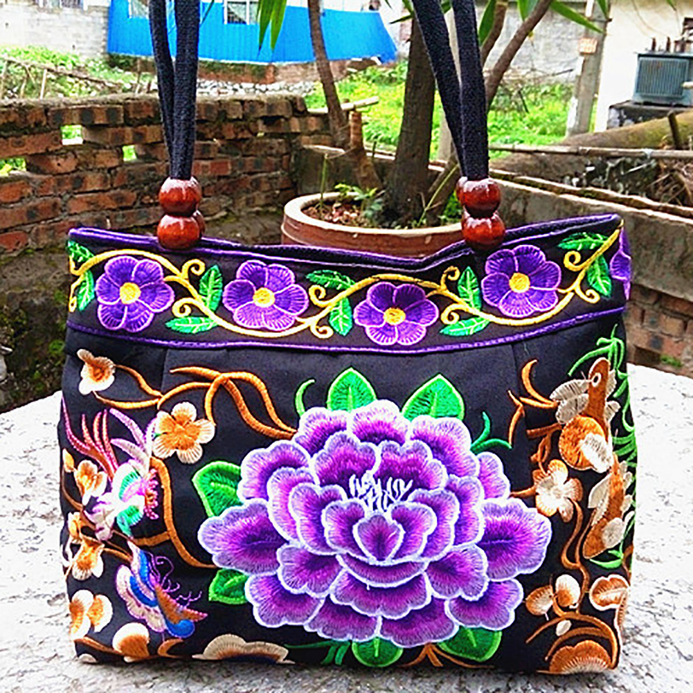 NEW Womens Flower Handmade Canvas Embroidery Ethnic Retro Shoulder Bags Handbag