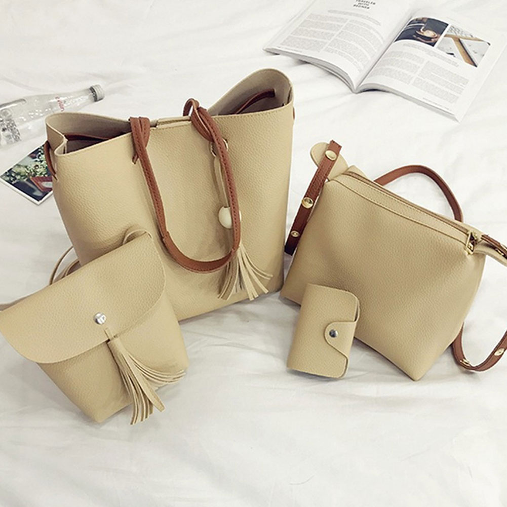 Women-039-s-Retro-Tassel-Bucket-Shoulder-Handbags-Ladies-Faux-Leather-Tote-Bags-4pcs