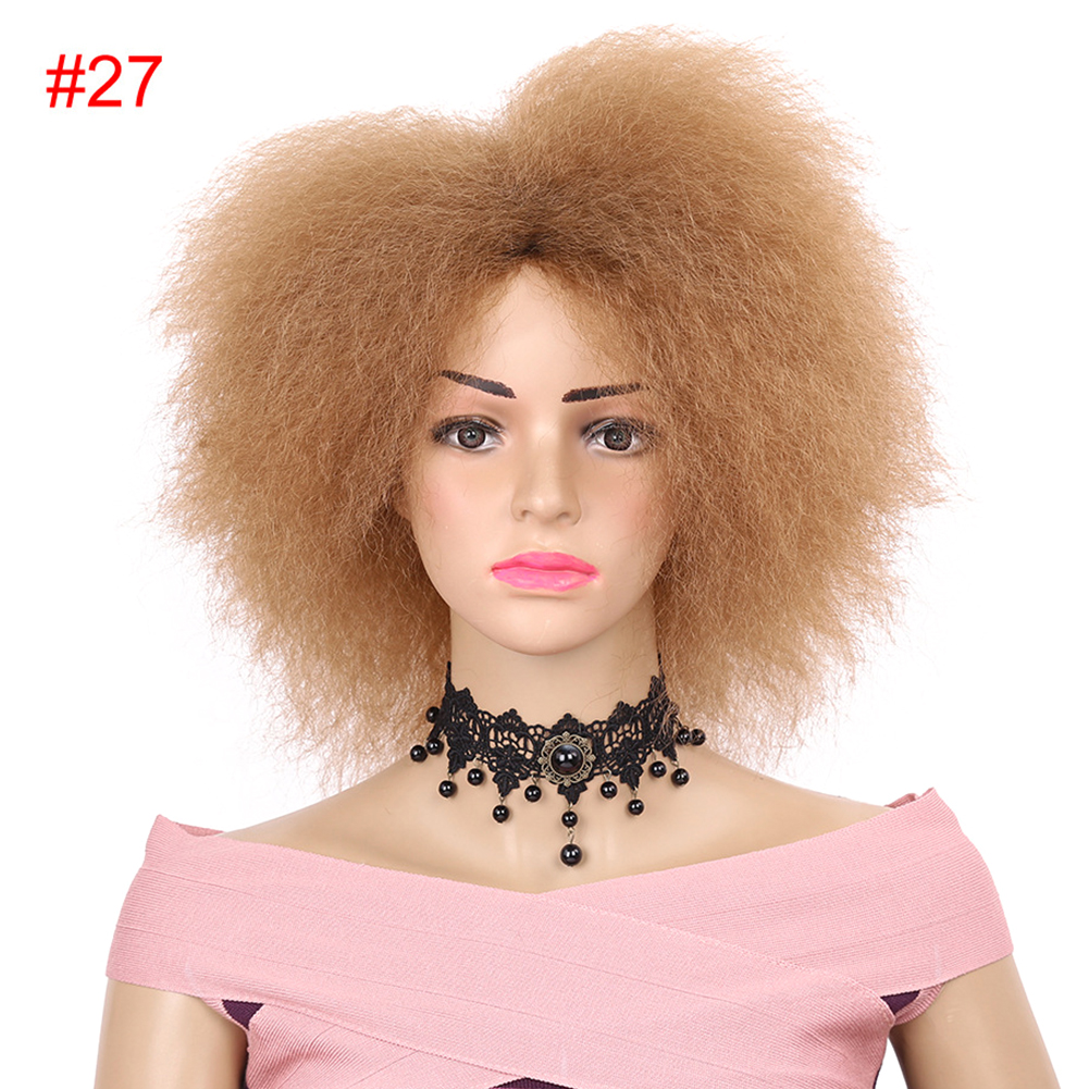 Kinky-Curly-Natural-Fluffy-Women-Wig-Synthetic-Short-Hair-For-African-Easy-Clean thumbnail 9