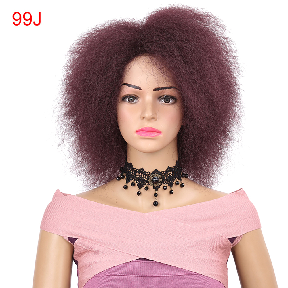 Kinky-Curly-Natural-Fluffy-Women-Wig-Synthetic-Short-Hair-For-African-Easy-Clean thumbnail 11