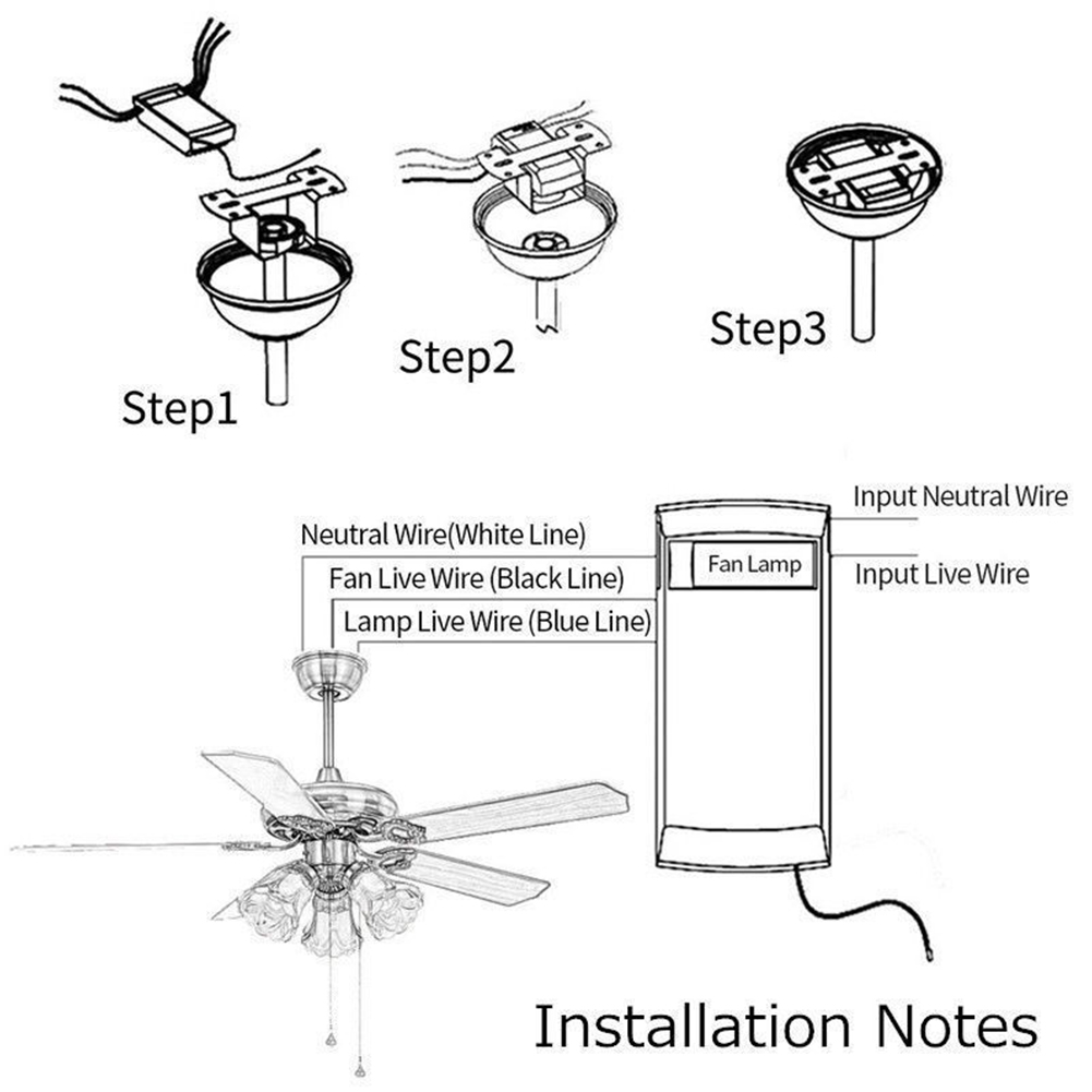 Universal-Ceiling-Fan-Lamp-Remote-Control-Kit-Timing-Wireless-Control-110V-220V thumbnail 2