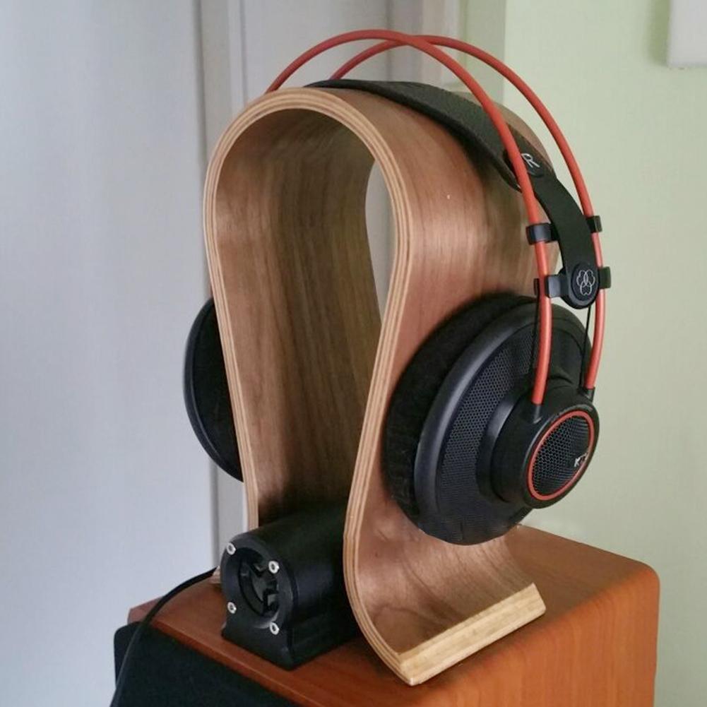 DJ-Portable-Office-Desktop-Wooden-Headphone-Stand-U-Shape-Universal-for-Sony thumbnail 8