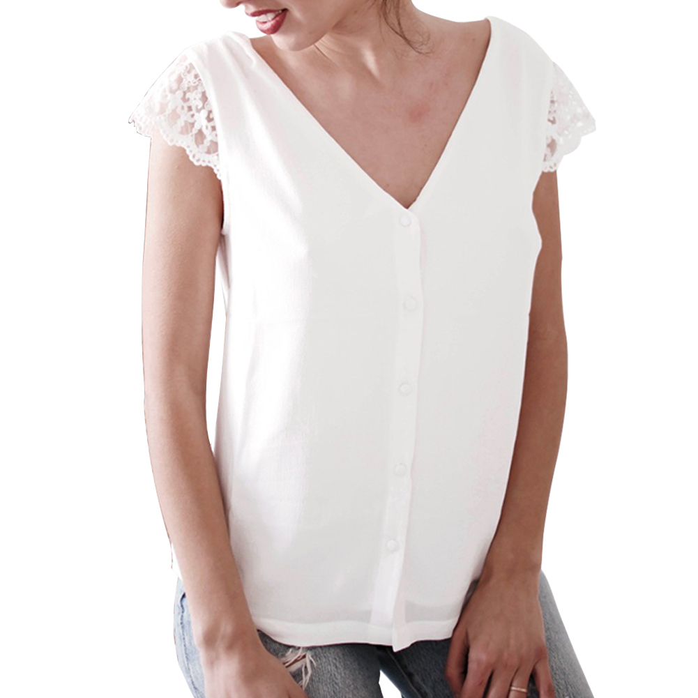 Women-Sexy-V-neck-T-shirt-Summer-Loose-Short-Sleeve-Ladies-Tee-Fashion-Blouse