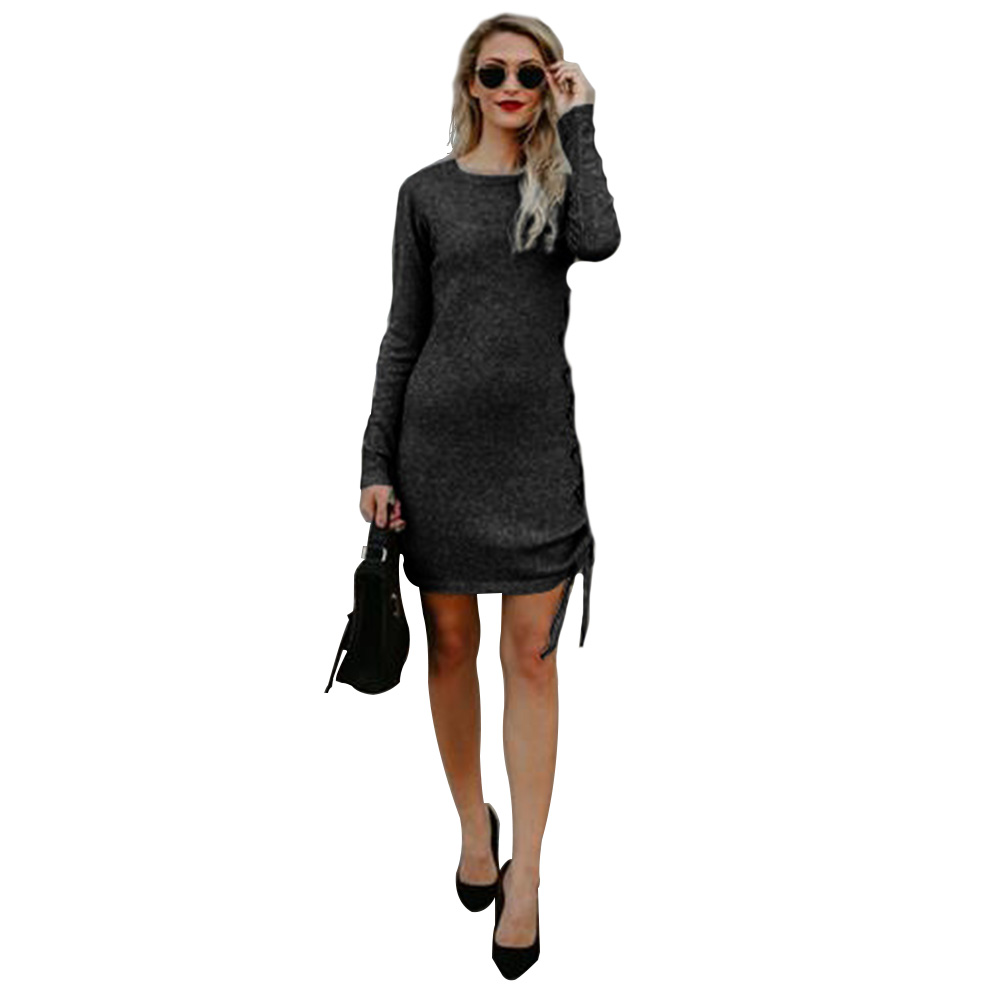 Women-Grey-Sheath-Dress-Office-Side-Straps-Crew-Neck-Long-Sleeve-Midi-Dress-M-XL