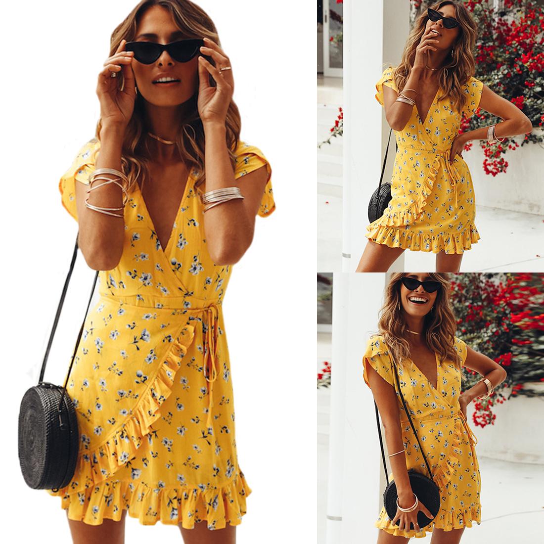 AU Women Lady Floral Cotton Short Dress Summer V neck Lace-up Casual SIZE 8-12