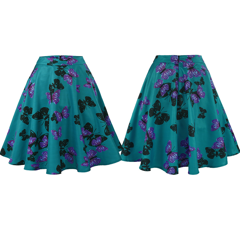 Fashion-Women-Retro-Floral-High-Waist-Pleated-Party-A-Line-Midi-Skater-Skirt-New