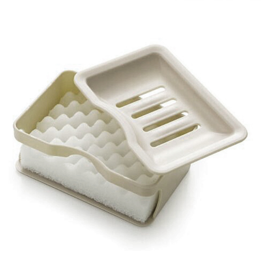 Storage-Double-Layers-With-Sponge-Cleaner-Box-Case-Soap-Holder-Non-Slip