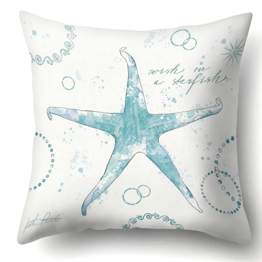 Aquatic Life Pattern Polyester Pillow Case Cushion Cover Home Office Decor 45cm