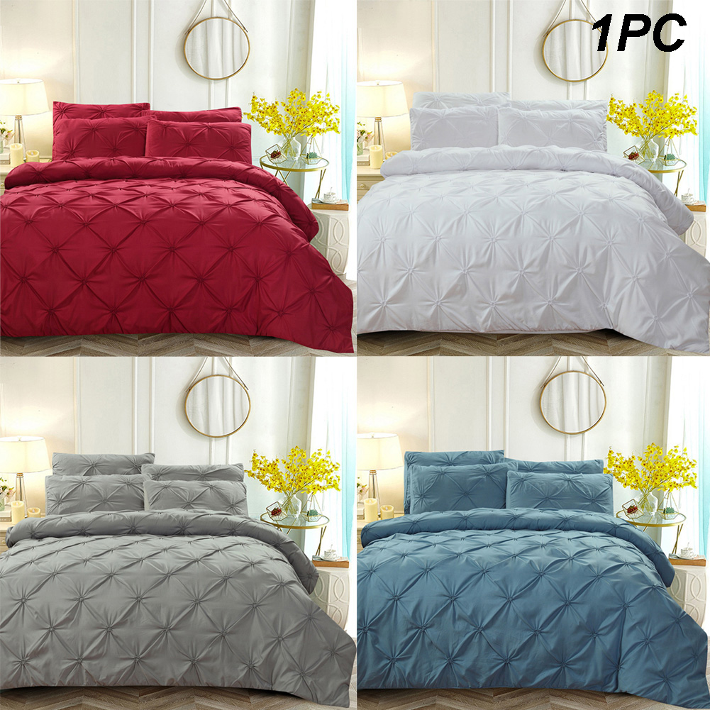3pcs Polyester Zipper Soft Pillowcase Set Bedding Duvet Cover Decorative Washed