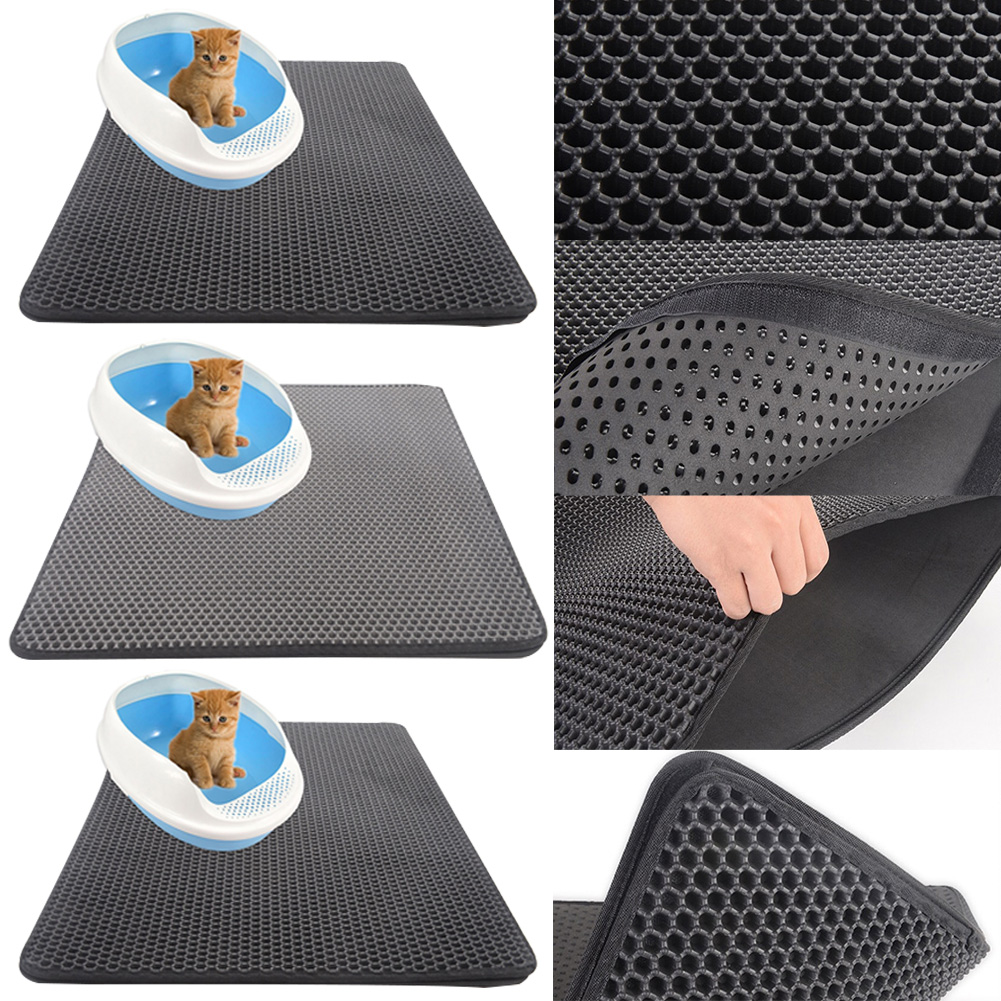 Trapping Mat Floor Protect Sifting Waterproof Cat Litter Double Layer EVA Pad