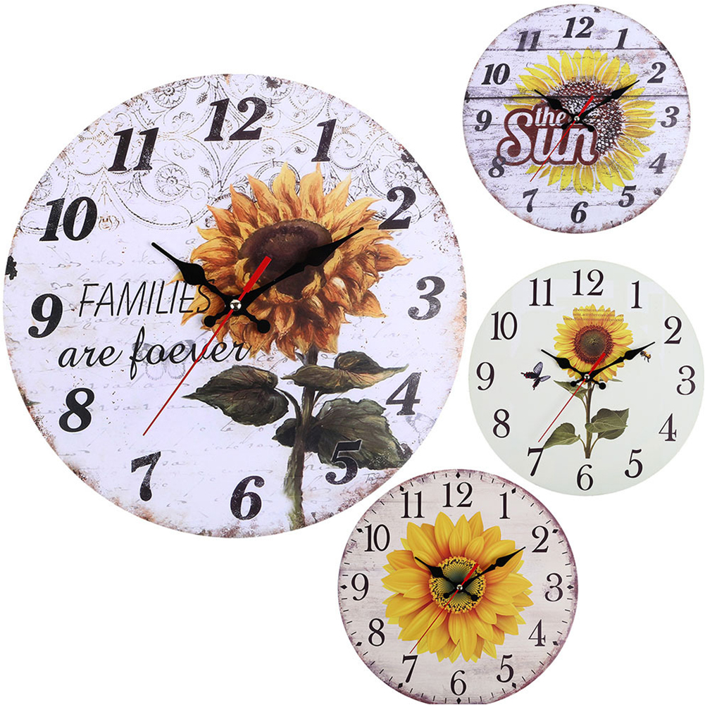 Decorative-Wall-Clock-European-Style-Vintage-Non-Ticking-Easy-Install-Sunflower