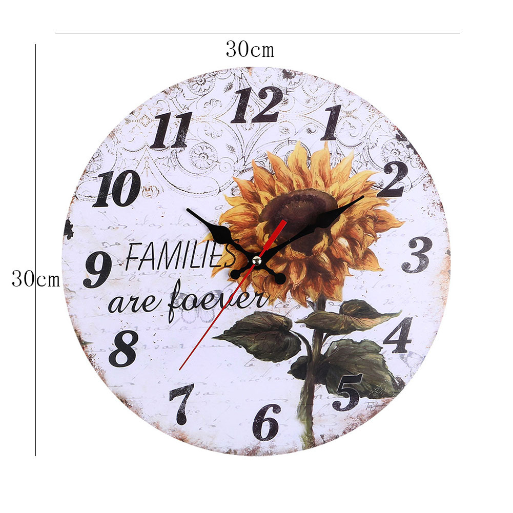 Decorative-Wall-Clock-European-Style-Vintage-Non-Ticking-Easy-Install-Sunflower thumbnail 6