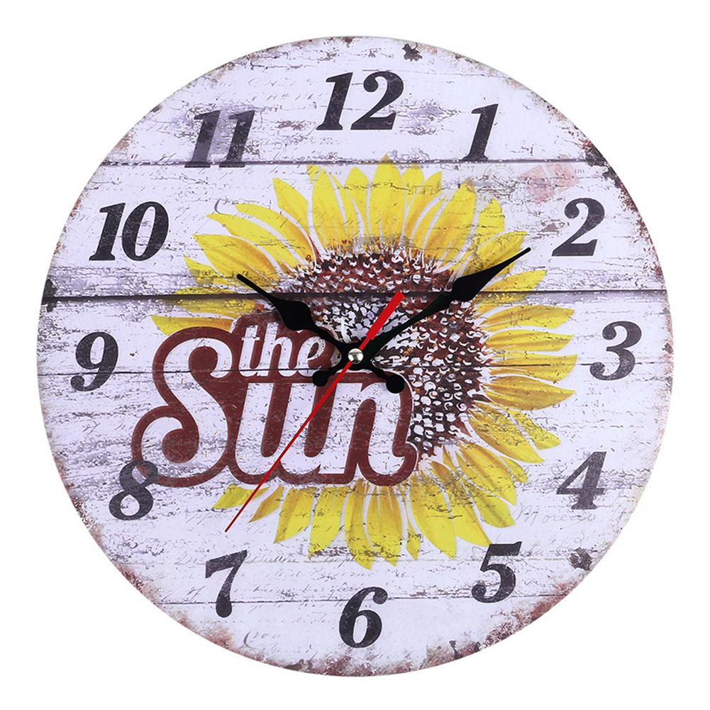 Decorative-Wall-Clock-European-Style-Vintage-Non-Ticking-Easy-Install-Sunflower thumbnail 2