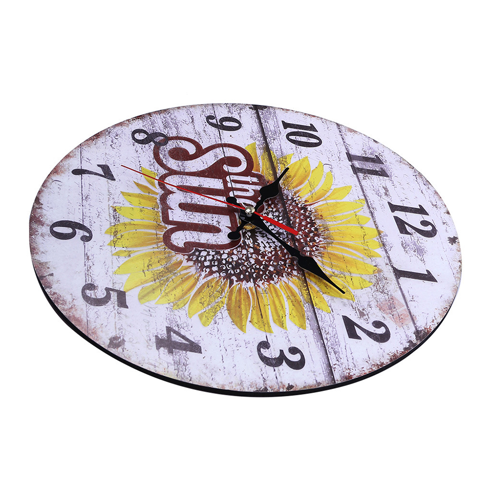 Decorative-Wall-Clock-European-Style-Vintage-Non-Ticking-Easy-Install-Sunflower thumbnail 7