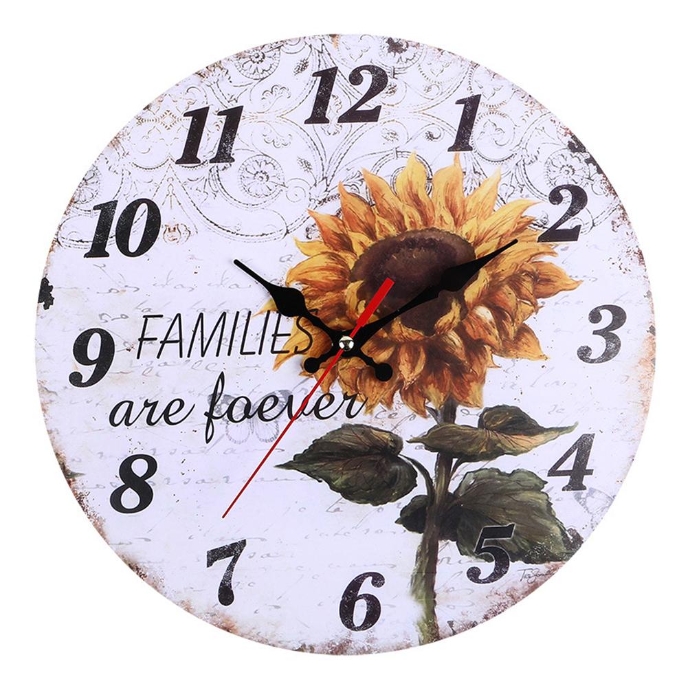 Decorative-Wall-Clock-European-Style-Vintage-Non-Ticking-Easy-Install-Sunflower thumbnail 3