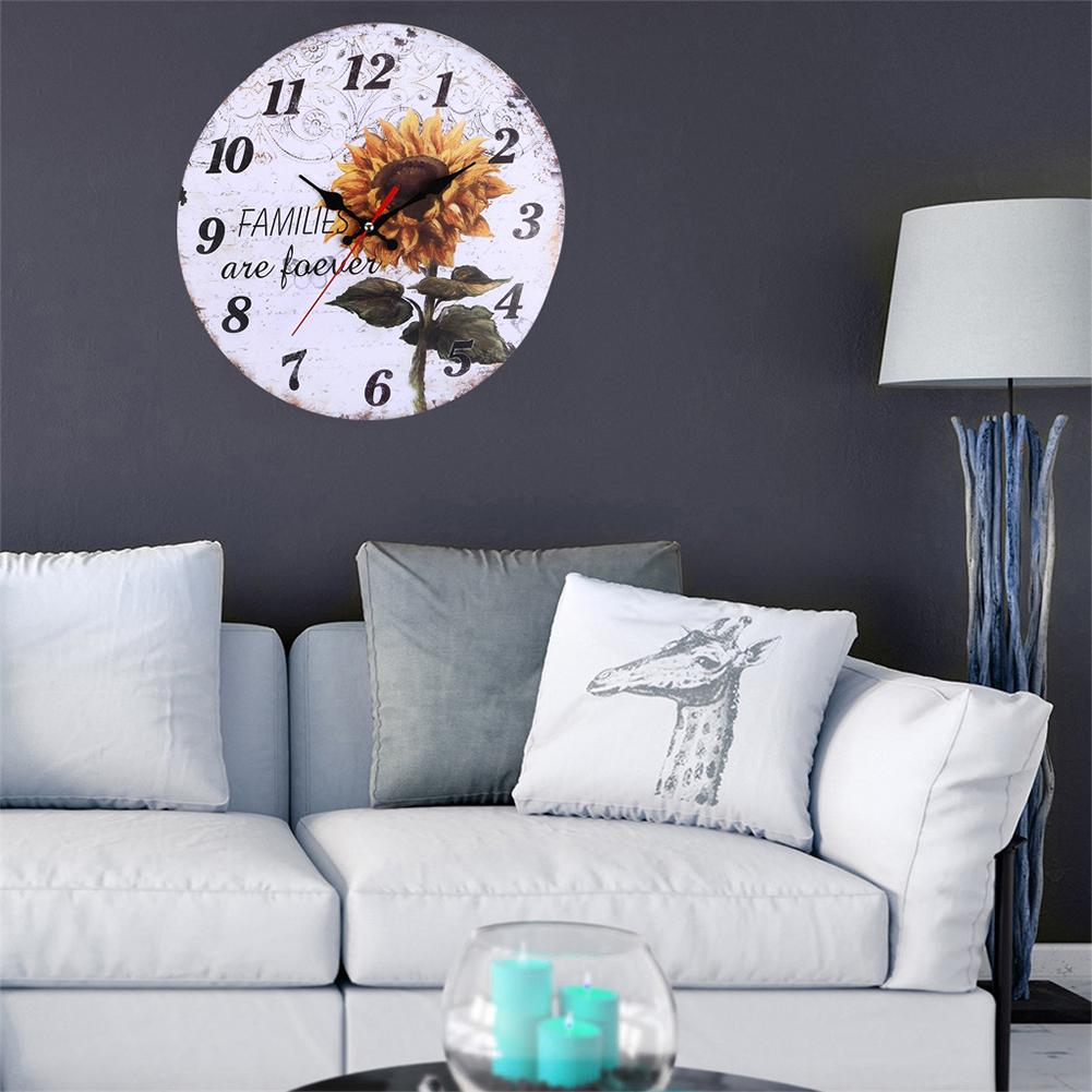 Decorative-Wall-Clock-European-Style-Vintage-Non-Ticking-Easy-Install-Sunflower thumbnail 8