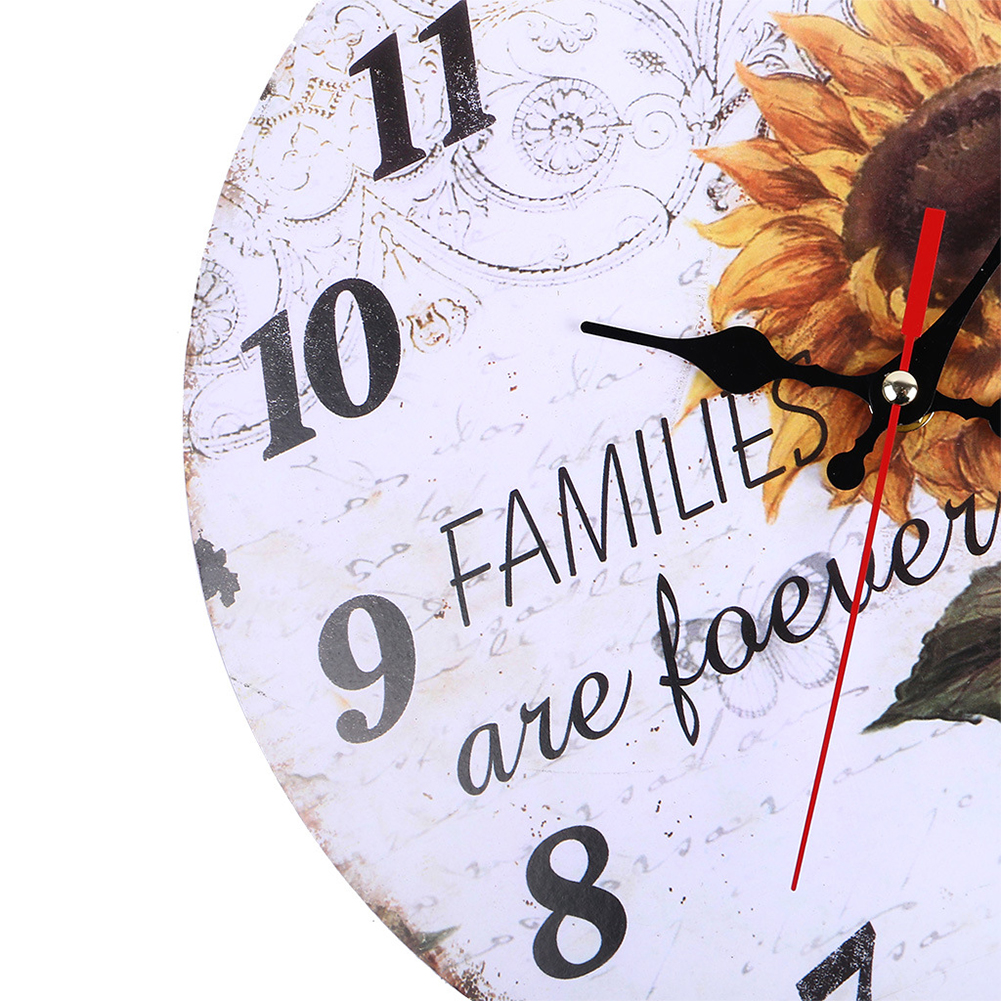 Decorative-Wall-Clock-European-Style-Vintage-Non-Ticking-Easy-Install-Sunflower thumbnail 4