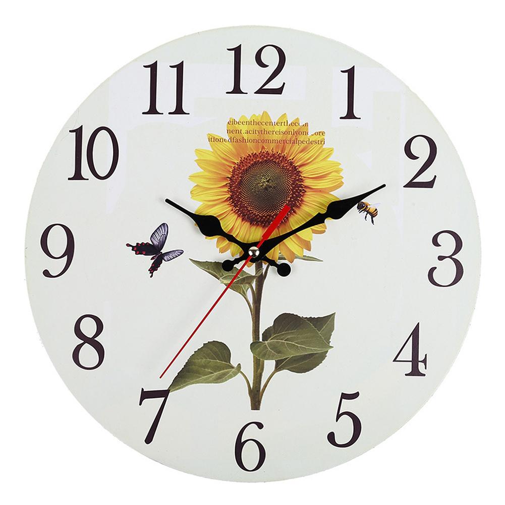 Decorative-Wall-Clock-European-Style-Vintage-Non-Ticking-Easy-Install-Sunflower thumbnail 9