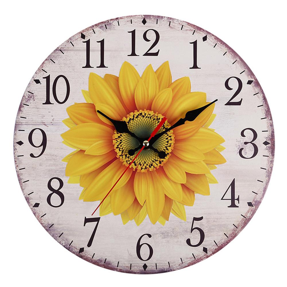 Decorative-Wall-Clock-European-Style-Vintage-Non-Ticking-Easy-Install-Sunflower thumbnail 11