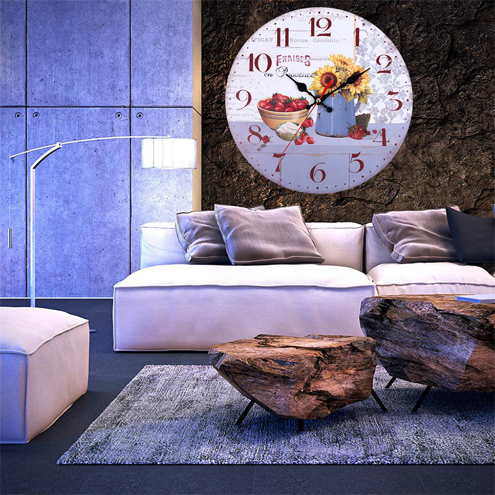 Decorative-Wall-Clock-European-Style-Vintage-Non-Ticking-Easy-Install-Sunflower thumbnail 10