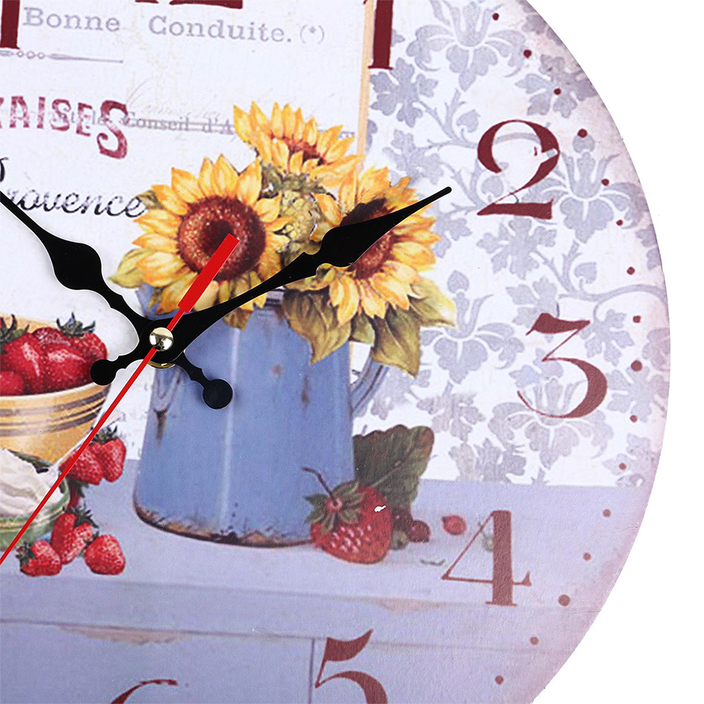 Decorative-Wall-Clock-European-Style-Vintage-Non-Ticking-Easy-Install-Sunflower thumbnail 12