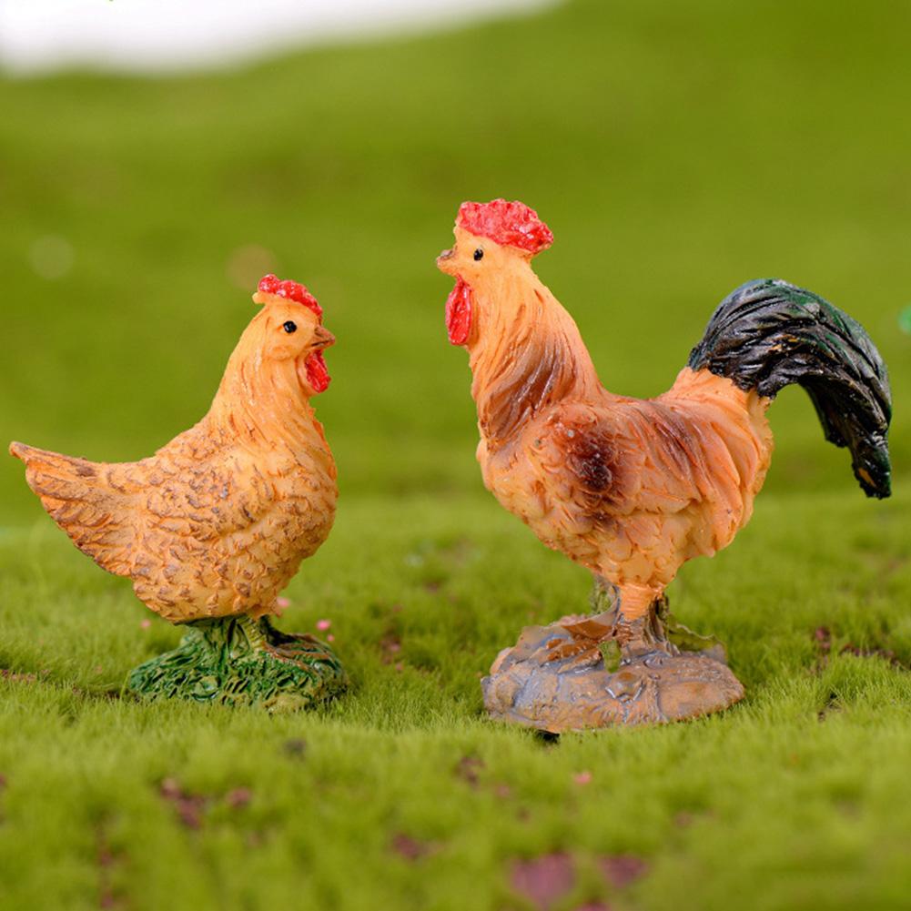 Animal Mini Garden Ornament Kid Toy Chicken Figurine Resin R