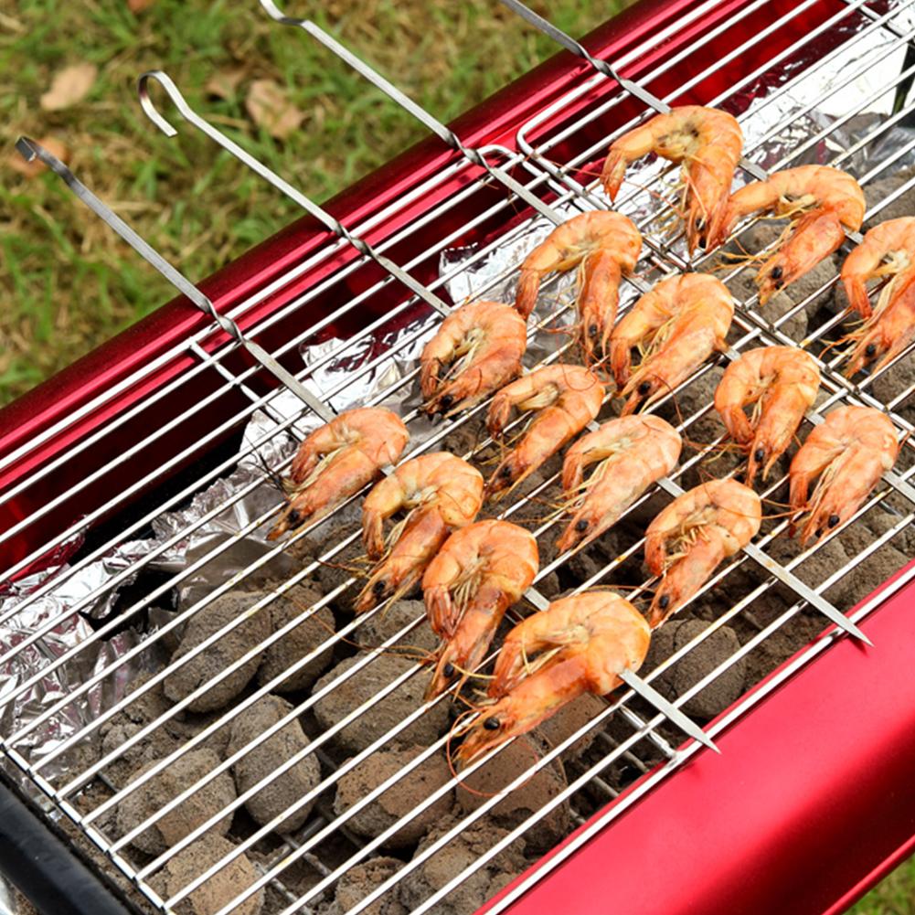 10-STK-Edelstahl-BBQ-Grillen-Spiesse-Nadel-Grill-Kebab-Kabob-Stick-Heiss-Neu