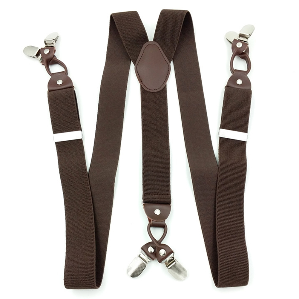 35mm-6-Clips-Plain-Mens-Braces-Suspenders-Heavy-Duty-Adjustable-Elastic-Strap