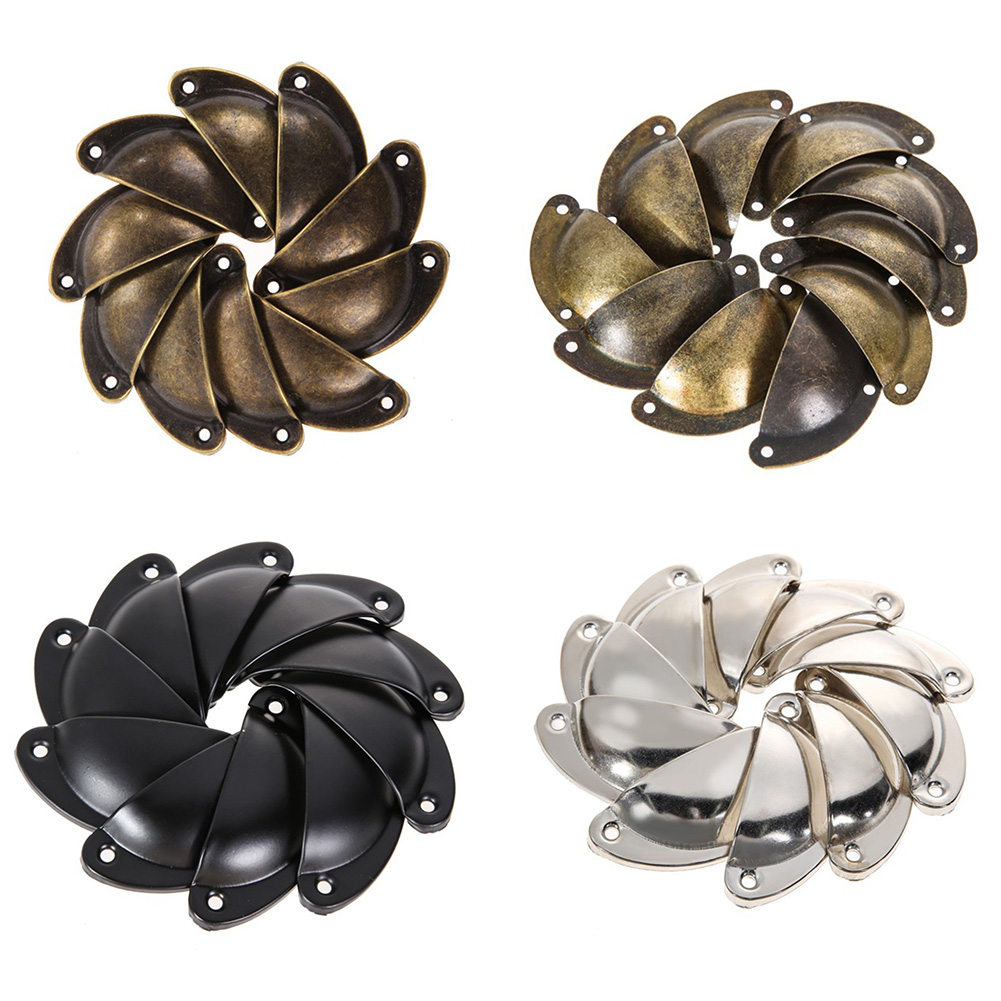 Vintage Wrought Iron Shell Furniture Door Drawer Pull Handle Cabinet Dress 10x