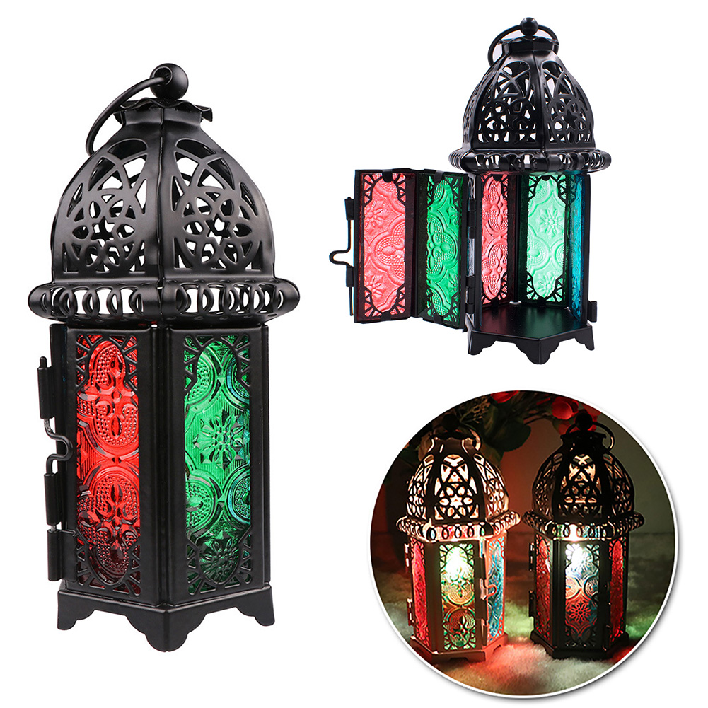 Glass-Metal-Moroccan-Delight-Garden-Candle-Holder-Hanging-Lantern-Lamp-Outdoor thumbnail 2