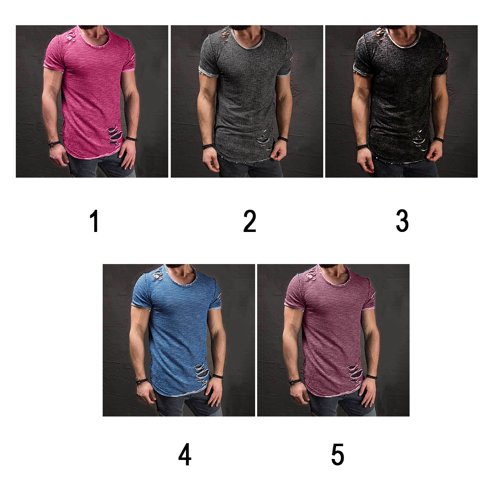 Men-039-s-Slim-Fit-O-Neck-Short-Sleeve-Muscle-Tee-T-shirt-Ripped-Casual-Tops-Blouse thumbnail 9