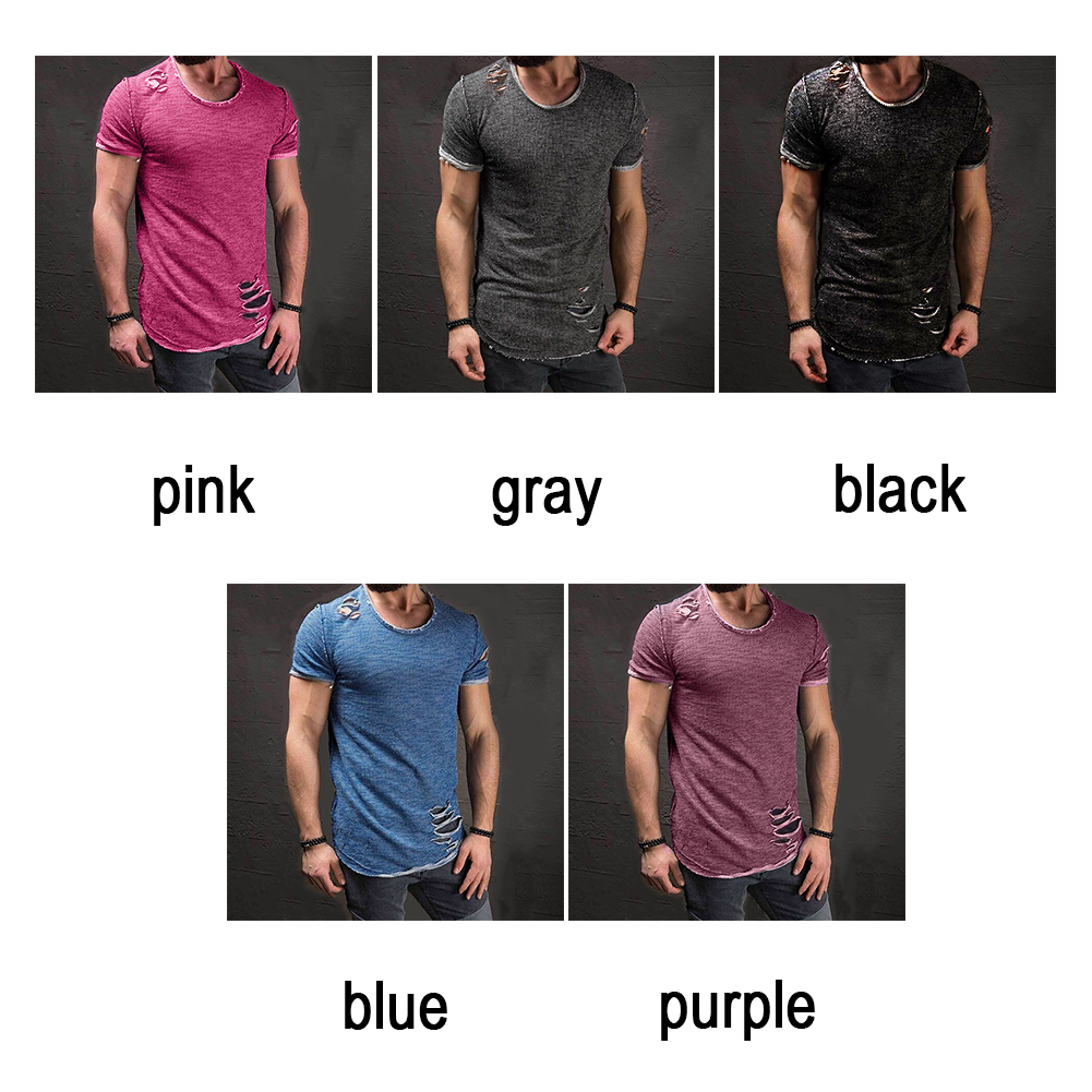 Men-039-s-Slim-Fit-O-Neck-Short-Sleeve-Muscle-Tee-T-shirt-Ripped-Casual-Tops-Blouse thumbnail 6