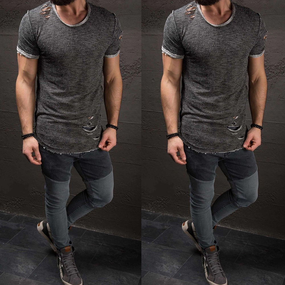 Men-039-s-Slim-Fit-O-Neck-Short-Sleeve-Muscle-Tee-T-shirt-Ripped-Casual-Tops-Blouse thumbnail 12
