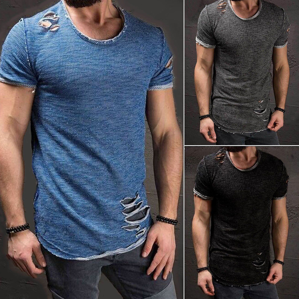 Men-039-s-Slim-Fit-O-Neck-Short-Sleeve-Muscle-Tee-T-shirt-Ripped-Casual-Tops-Blouse