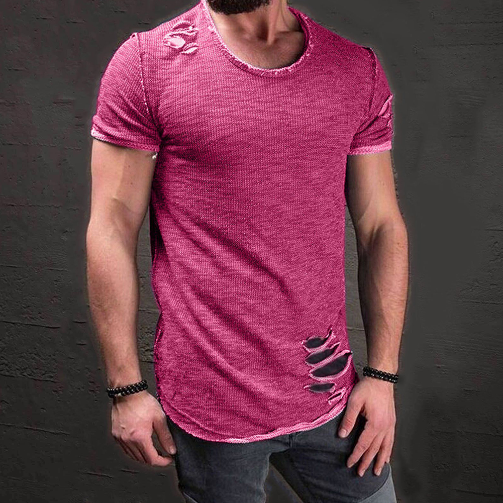 Men-039-s-Slim-Fit-O-Neck-Short-Sleeve-Muscle-Tee-T-shirt-Ripped-Casual-Tops-Blouse thumbnail 2