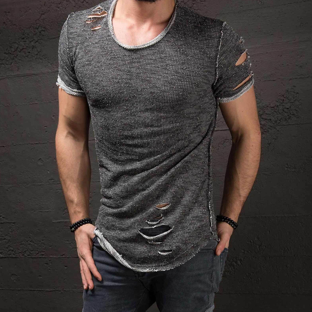 Men-039-s-Slim-Fit-O-Neck-Short-Sleeve-Muscle-Tee-T-shirt-Ripped-Casual-Tops-Blouse thumbnail 8