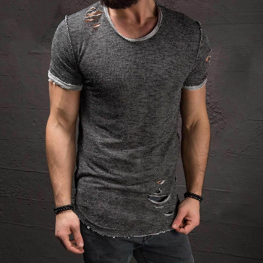 Men-039-s-Slim-Fit-O-Neck-Short-Sleeve-Muscle-Tee-T-shirt-Ripped-Casual-Tops-Blouse thumbnail 3