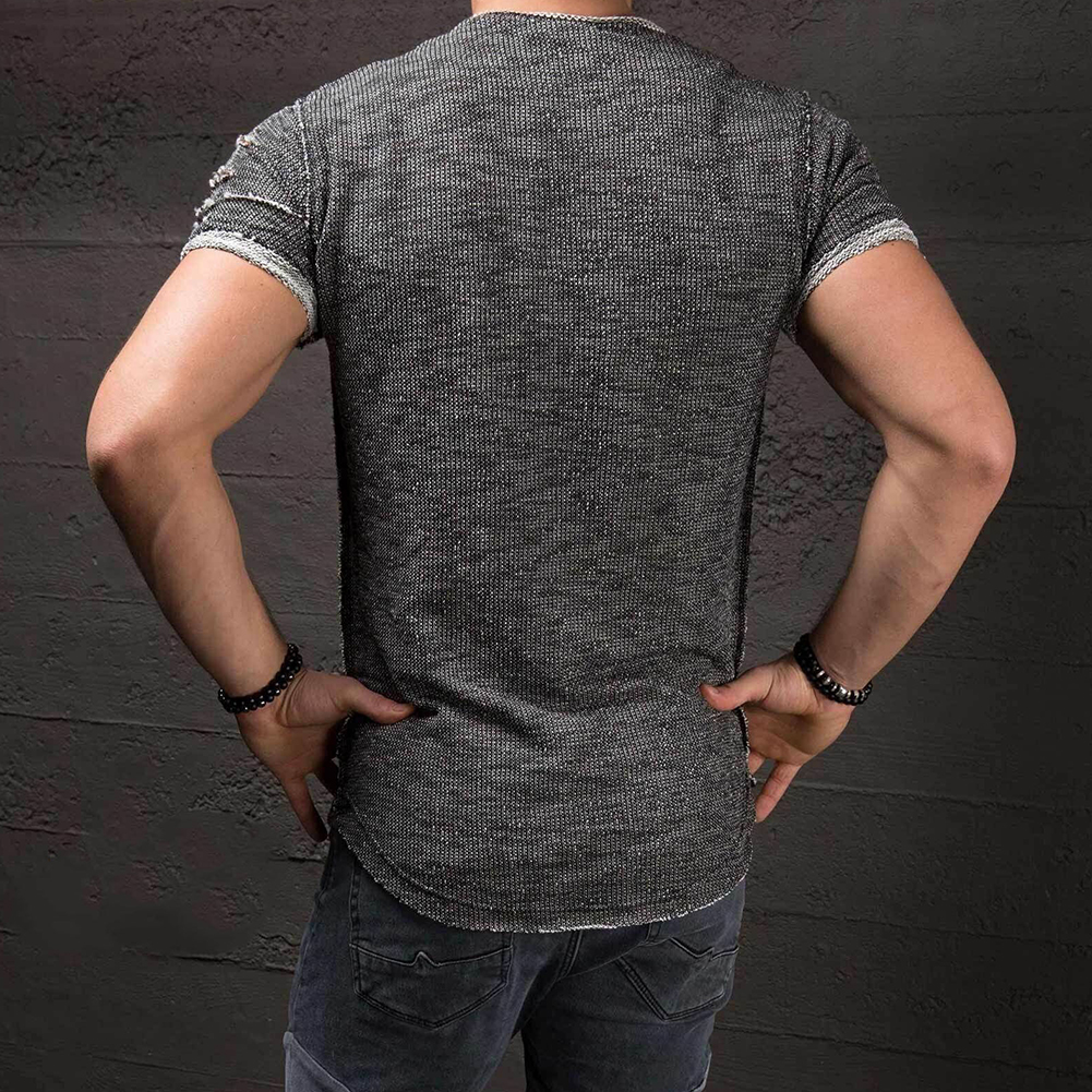 Men-039-s-Slim-Fit-O-Neck-Short-Sleeve-Muscle-Tee-T-shirt-Ripped-Casual-Tops-Blouse thumbnail 7