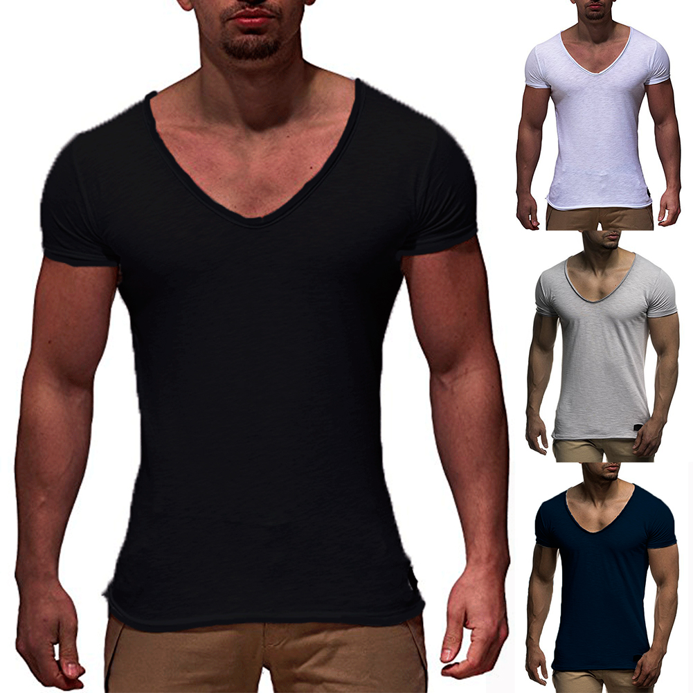 Men-039-s-Slim-Fit-Casual-T-shirt-V-Neck-Short-Sleeve-Muscle-Tee-Shirts-Tops-Blouse