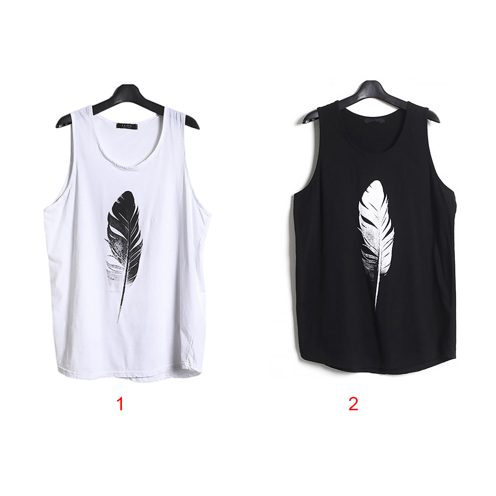 Men-Summer-Vest-Muscle-Bodybuilding-Feather-Printed-Sleeveless-Vest-Singlet thumbnail 10
