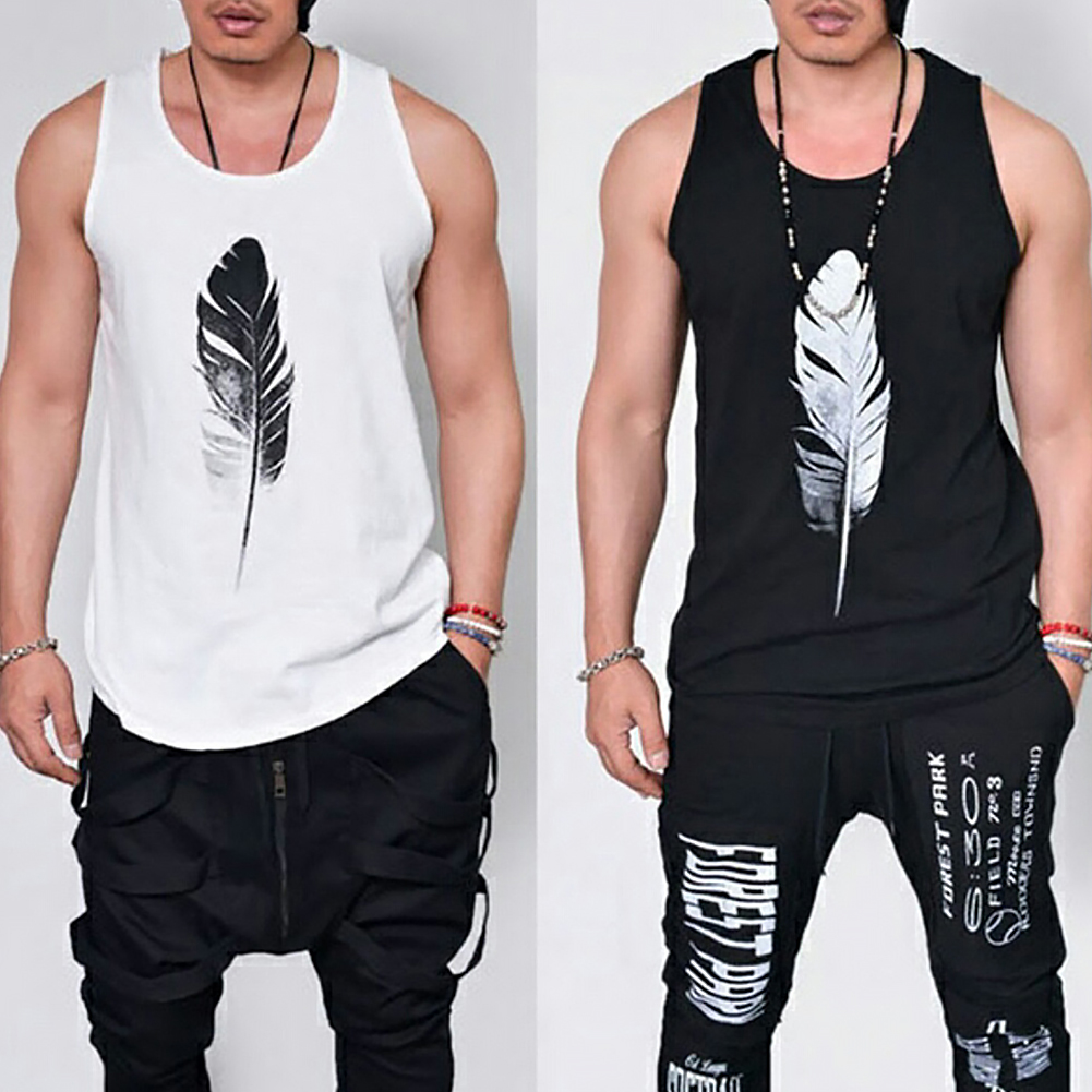 Men-Summer-Vest-Muscle-Bodybuilding-Feather-Printed-Sleeveless-Vest-Singlet thumbnail 8