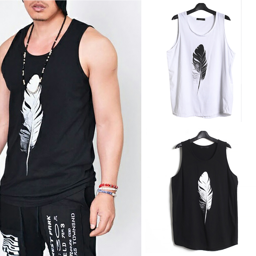 Men-Summer-Vest-Muscle-Bodybuilding-Feather-Printed-Sleeveless-Vest-Singlet thumbnail 6