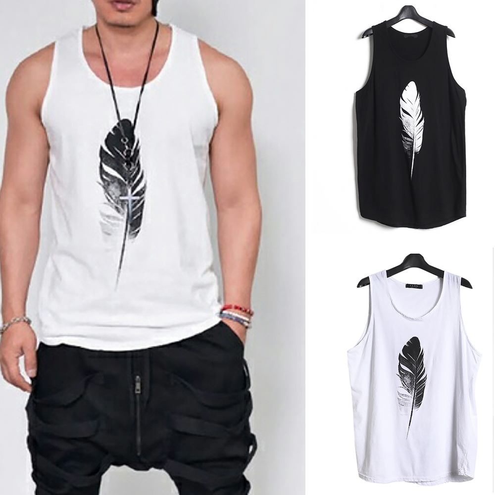 Men-Summer-Vest-Muscle-Bodybuilding-Feather-Printed-Sleeveless-Vest-Singlet thumbnail 1