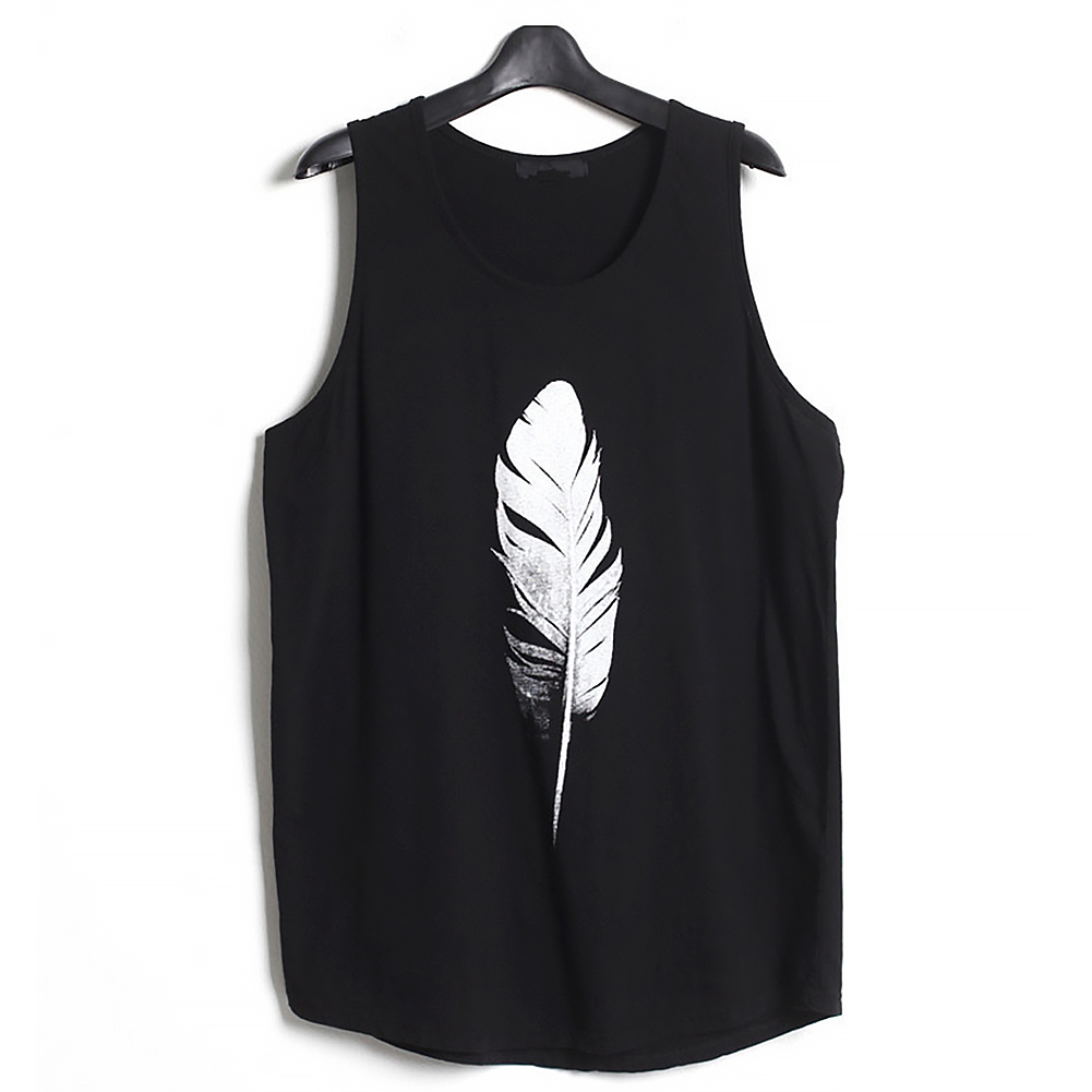 Men-Summer-Vest-Muscle-Bodybuilding-Feather-Printed-Sleeveless-Vest-Singlet thumbnail 11