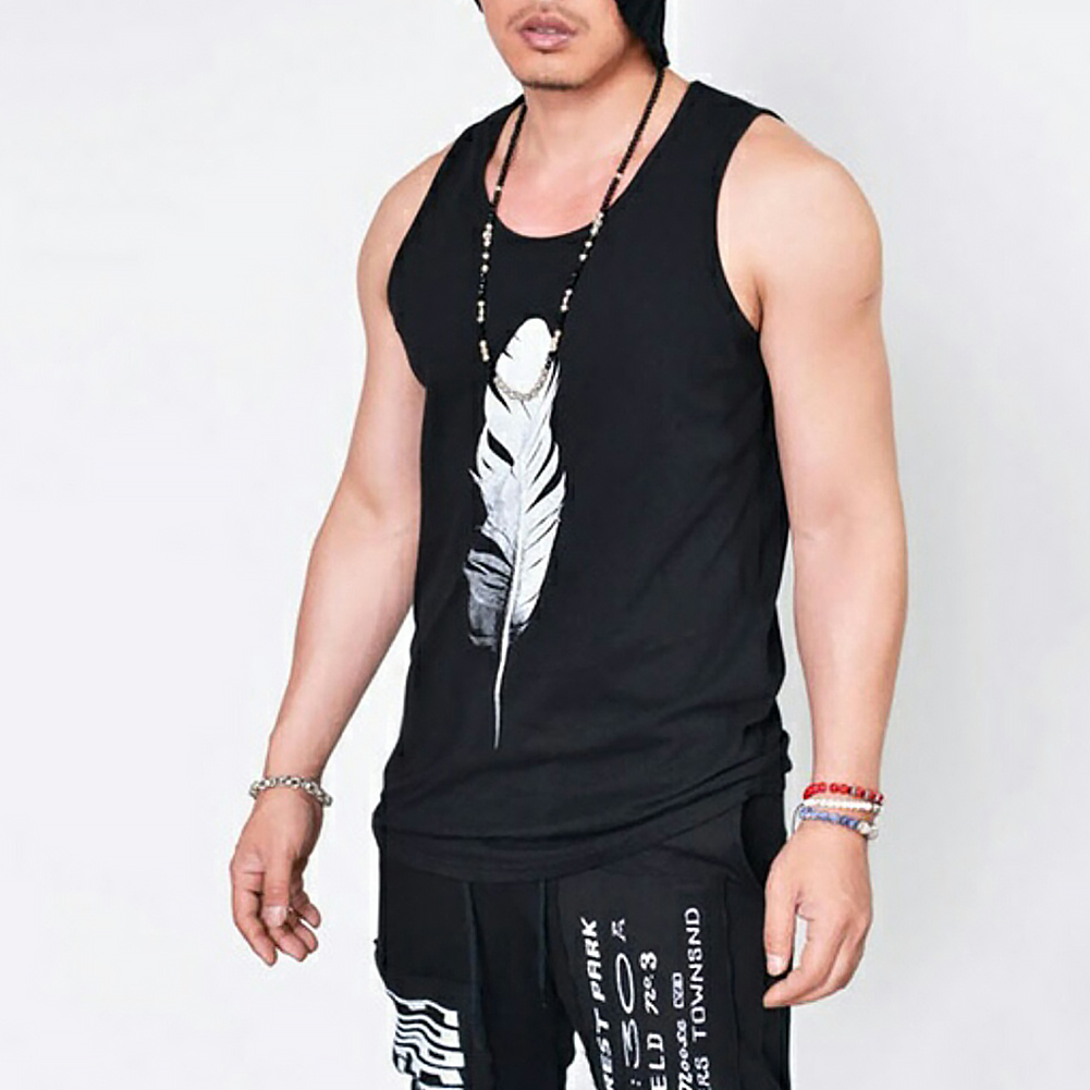 Men-Summer-Vest-Muscle-Bodybuilding-Feather-Printed-Sleeveless-Vest-Singlet thumbnail 3